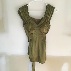 GORGEOUS OLIVE GREEN TIED BLOUSE